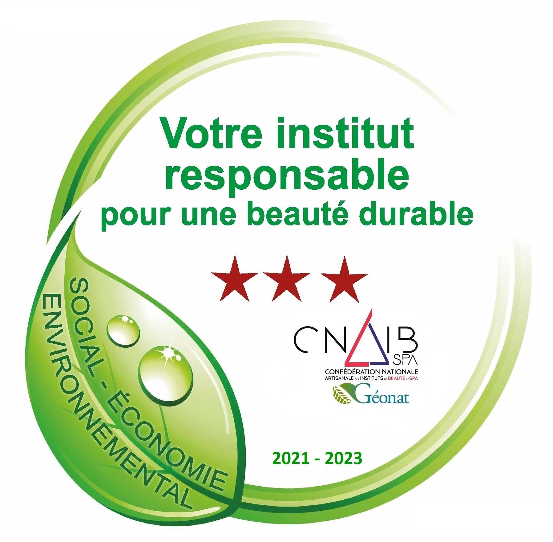 """Label """" Votre institut responsable pour une beauté durable"""""""